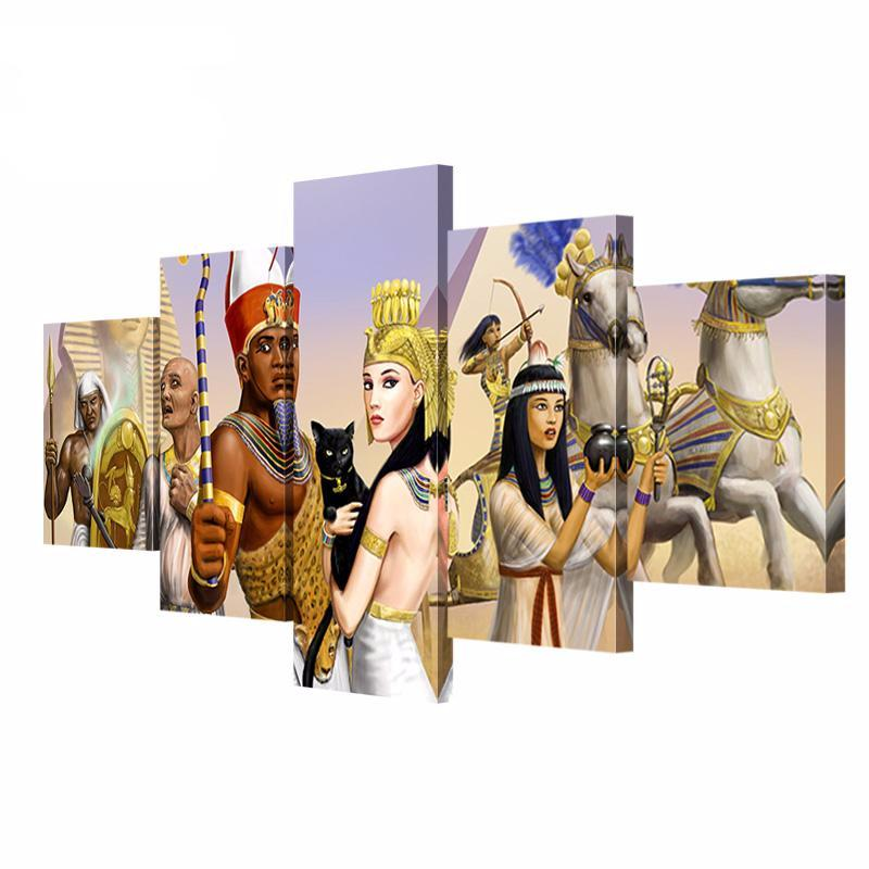 5 Panel Wall Art Egyptian King And Queen Pictures HD Print On Canvas