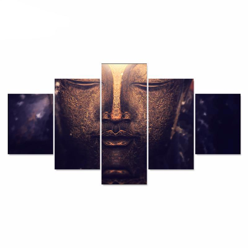 Modern Buddha Canvas Painting Picture And Poster HD Print 5 piece Canvas Set