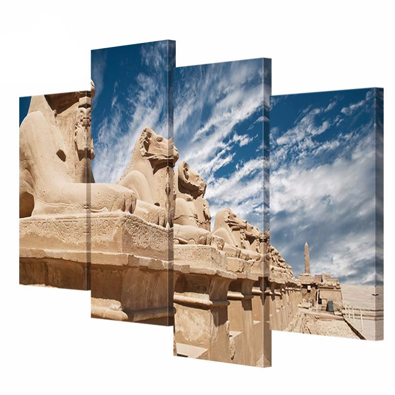 4 Panel HD Print Egyptian Sculpture Landscape Picture On Canvas Painting
