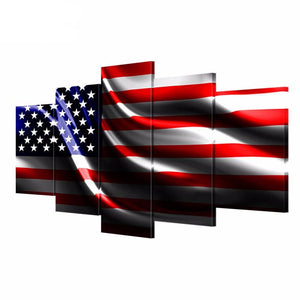 HD Prints 5 Canvas Paintings Flying The American Flag Picture