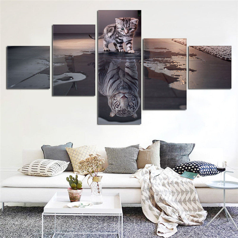 Island 5 Panels Decorations Modern Canvas Prints Artwork Cat and Tiger Pictures Paintings Canvas
