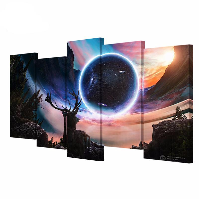 5 Canvas Painting Art Deer Night Sky The Planet HD Universe Poster Printed On Canvas
