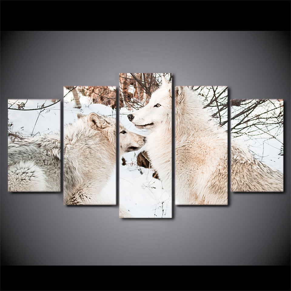 HD Printed 5 Pieces Canvas Art Painting White Snow Wolf Couples Poster Wall Pictures