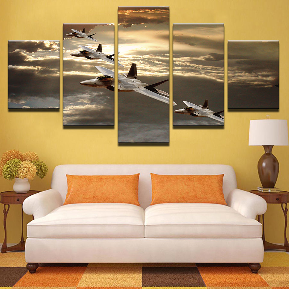 Canvas Paintings Wall Art HD Prints 5 Pieces Modular Sunset Aircraft Pictures Abstract Sky Airplane Posters