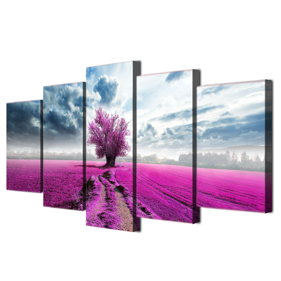 Modern Canvas Paintings HD Prints Posters 5 Pieces Wall Art Purple Flowers Tree Clouds Landscape Pictures