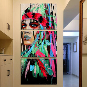HD Printed 3 Piece Canvas Art Native American Indian Feathered Painting Wall Pictures