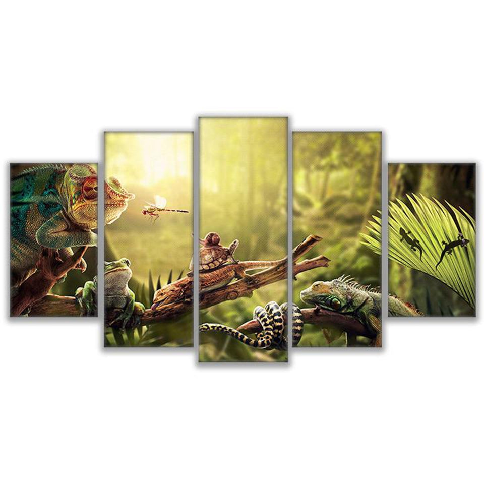 Canvas Wall Art Prints Poster 5 Pieces Iguana Snail Gecko Reptiles ...