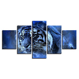Abstract Paintings Wall Art Modular Pictures 5 Pieces Animal Tiger Posters HD Prints Modern
