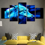 Canvas HD Prints Poster Art Pictures 5 Pieces Abstract Animal Wolf Paintings Modern
