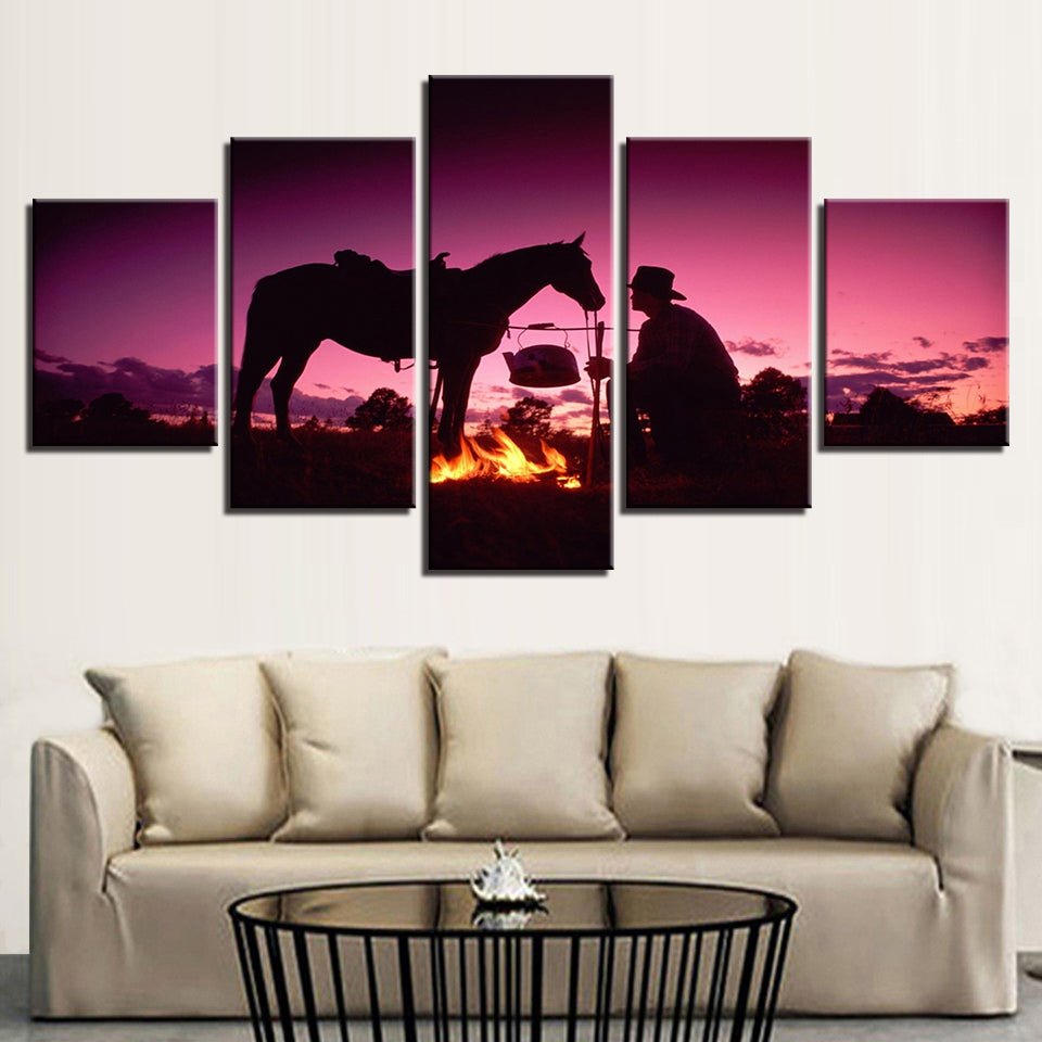 Canvas Painting Wall Art 5 Pieces Sunset Dusk Knight Whit Horse Pictures HD Prints Flame Poster