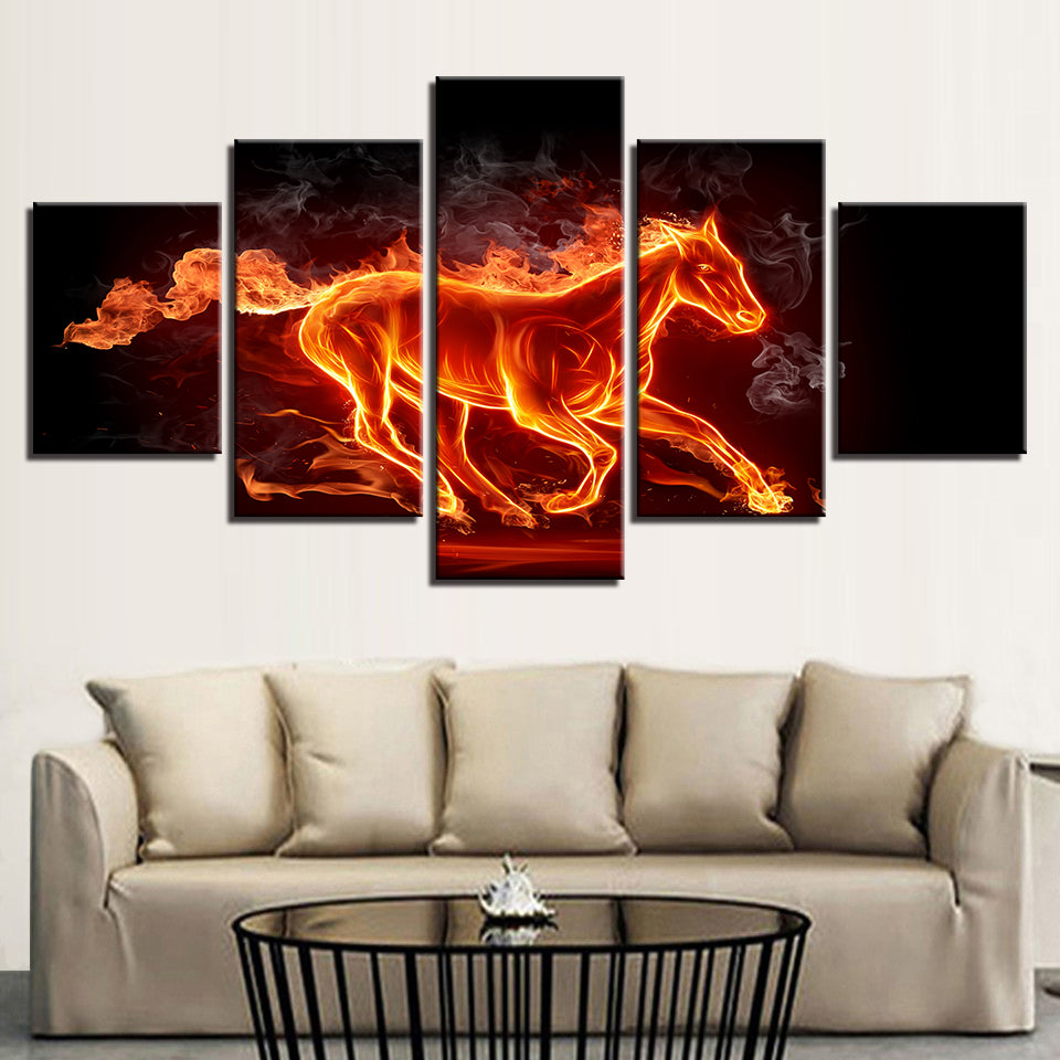 Wall Art Canvas Paintings HD Prints 5 Pieces Abstract Fire Horse Pictures Flame Animal Posters
