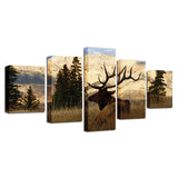 Canvas Pictures Wall Art HD Prints Posters 5 Pieces Sunny Mountain Trees Animal Deer Paintings