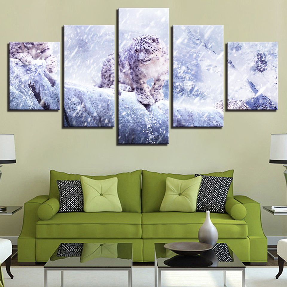 Canvas HD Prints Pictures Wall Art 5 Pieces Snow Leopard Paintings Animal Panthera Uncia Poster
