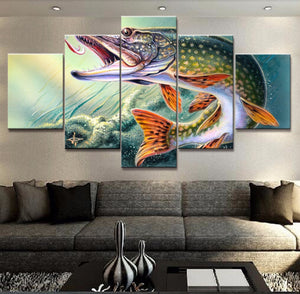 Modern Canvas Pictures 5 Pieces Animal Fishing Hooked Pike Fish Paintings Prints Vintage Poster