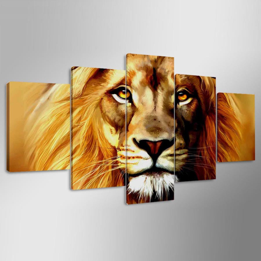 Canvas HD Prints Pictures Modular 5 Pieces Animals Lions Vintage Paintings Wall Art Posters
