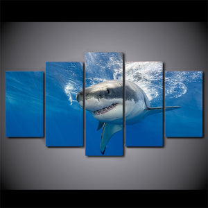 Canvas HD Prints Posters Wall Art 5 Pieces Abstract Shark Paintings Blue Ocean Large Pictures
