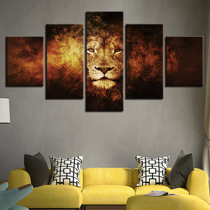 HD Prints Modular Pictures Paintings 5 Pieces Animal Lion Abstract Posters On Canvas Wall Art