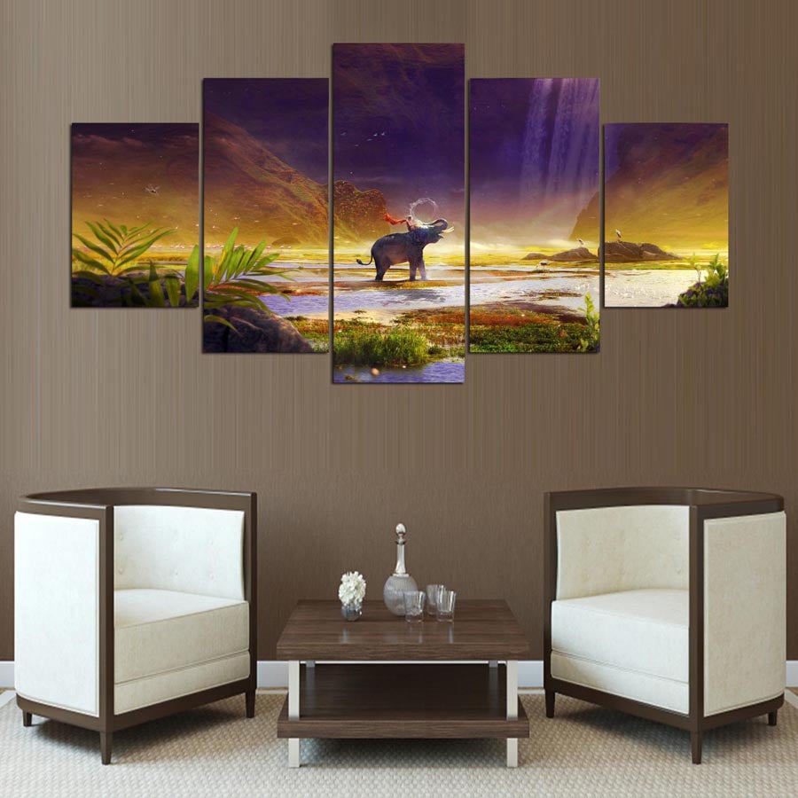 Pictures  Prints Posters 5 Pieces Shambhala Elephant Mysterious Abstract Landscape Canvas Paintings Wall Art