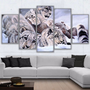 Canvas Paintings Wall Art 5 Piece Snow Leopards Pictures HD Prints Animal Panthera Uncia Poster