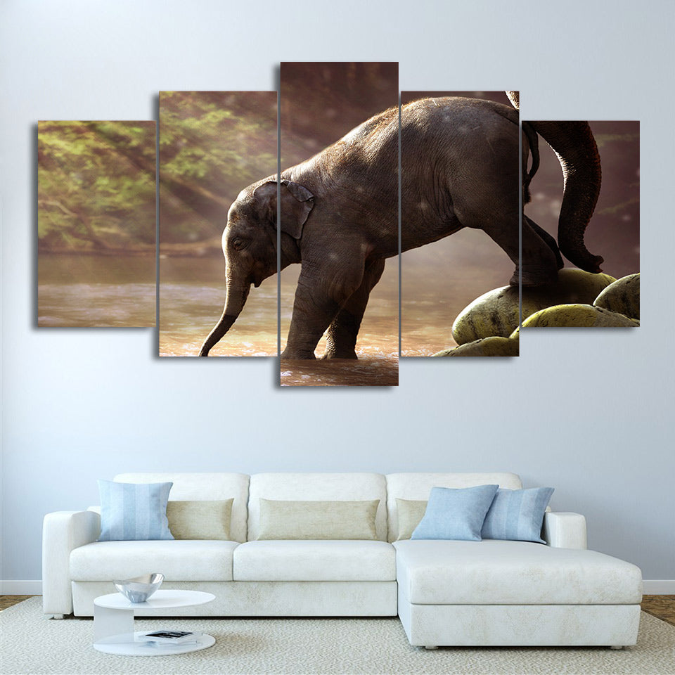 Modular Painting Wall Art 5 Pieces Elephant Drinking Landscape Poster Canvas HD Prints Pictures