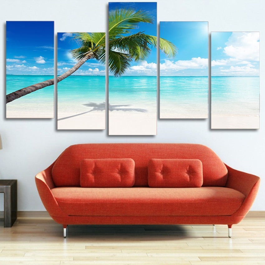 Canvas Paintings Wall Art HD Prints 5 Pieces Palm Tree Beach Pictures Blue Sky Seascape Poster