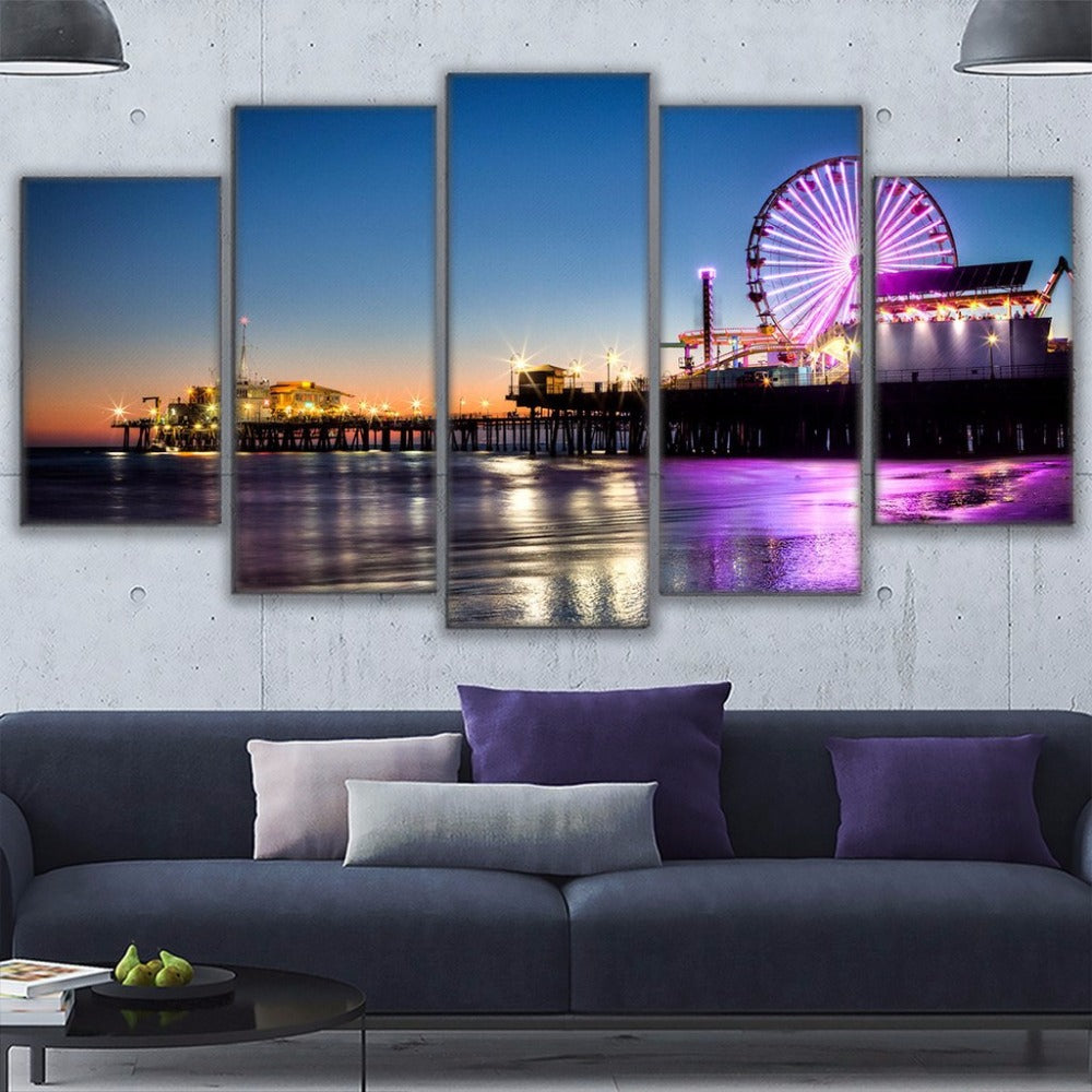 Canvas Wall Art Pictures 5 Pieces Los Angeles Beach Pier Painting  Prints Ferris Wheel Poster