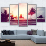Canvas Poster Wall Art 5 Pieces Vintage Beach Good Weather Paintings HD Prints Trees Pictures