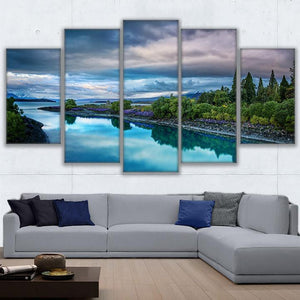 Canvas Paintings Wall Art Poster 5 Pieces Island River Mountain Wonderful Nature Landscape Pictures