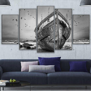 Canvas Paintings Wall Art 5 Pieces Black White Ship Boat Ashore Landscape Poster HD Prints Pictures