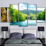 Wall Art Pictures HD Prints Canvas Paintings 5 Pieces River Waterfall Mountain Nature Landscape Poster