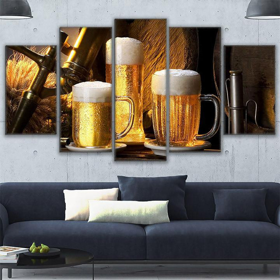 Modular Canvas Painting Wall Art 5 Pieces Cold Ones Drink Pictures Living Room HD Prints Beer Mug Poster