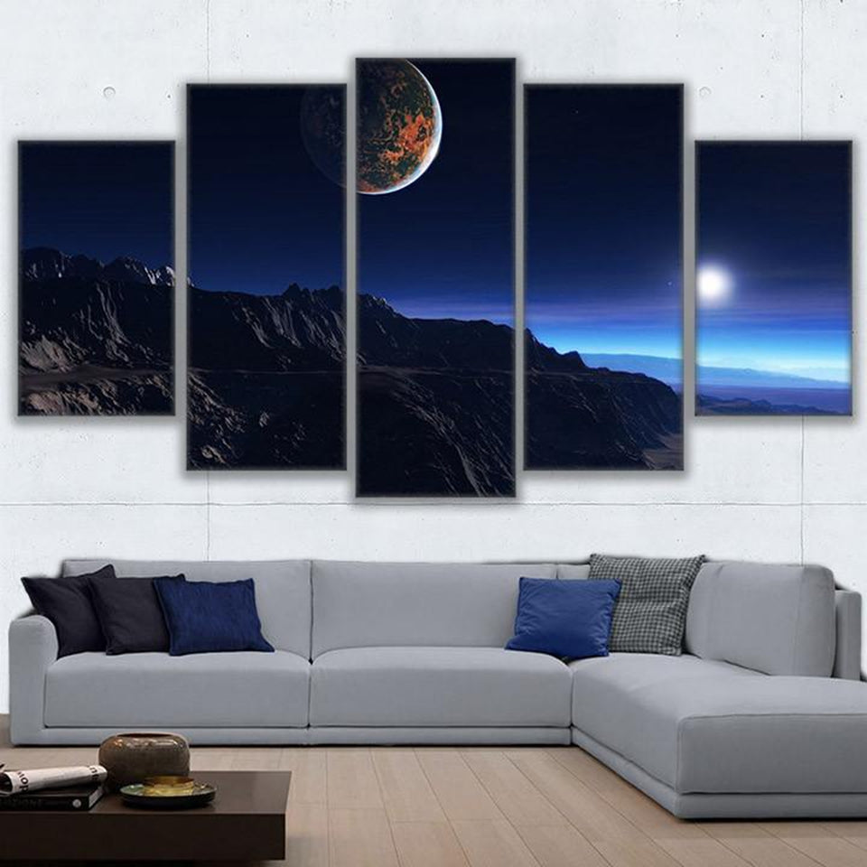 Canvas Painting Wall Art Abstract 5 Pieces Cliffs Under The Moon Poster  HD Prints Pictures