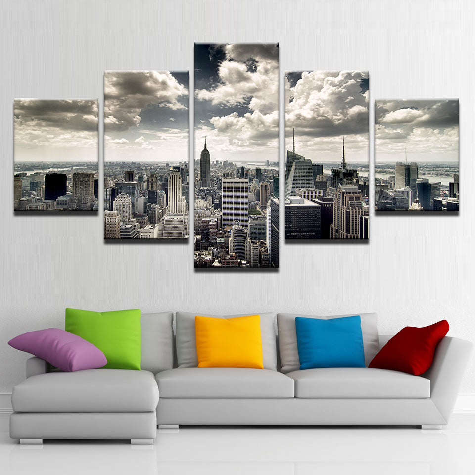 Canvas Wall Art HD Prints Pictures 5 Pieces New York City Building Aerial view Paintings Poster