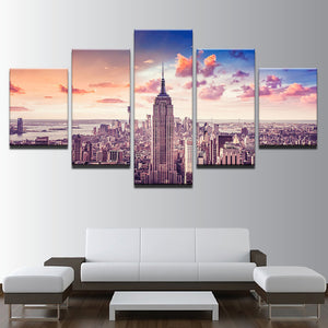 Canvas HD Prints Modular Pictures 5 Pieces Sunset New York City Building Painting City Scape Poster Wall Art