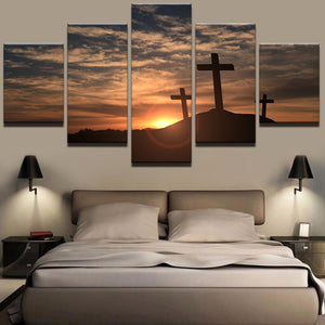 Modern Canvas Pictures Prints 5 Pieces Crosses At Sunset Paintings Mountain Cross Landscape Poster