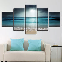 Canvas Wall Art Pictures 5 Pieces Sea Scenery With Beach Paintings Modular HD Prints Poster