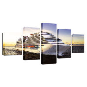 Canvas Pictures HD Prints Wall Art 5 Pieces Ship Boat Seaview Paintings Cruise Posters