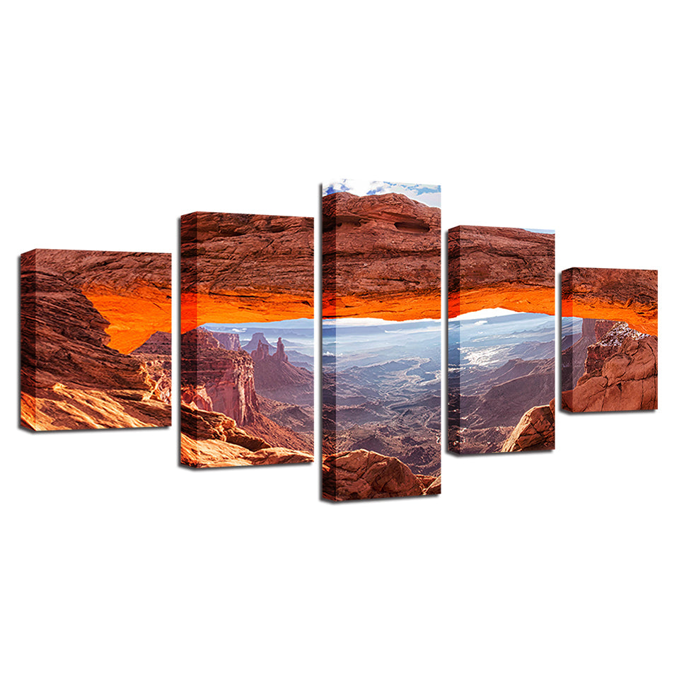 Canvas HD Prints Pictures Wall Art Poster 5 Pieces Sunshine Mountain Valley Landscape Paintings