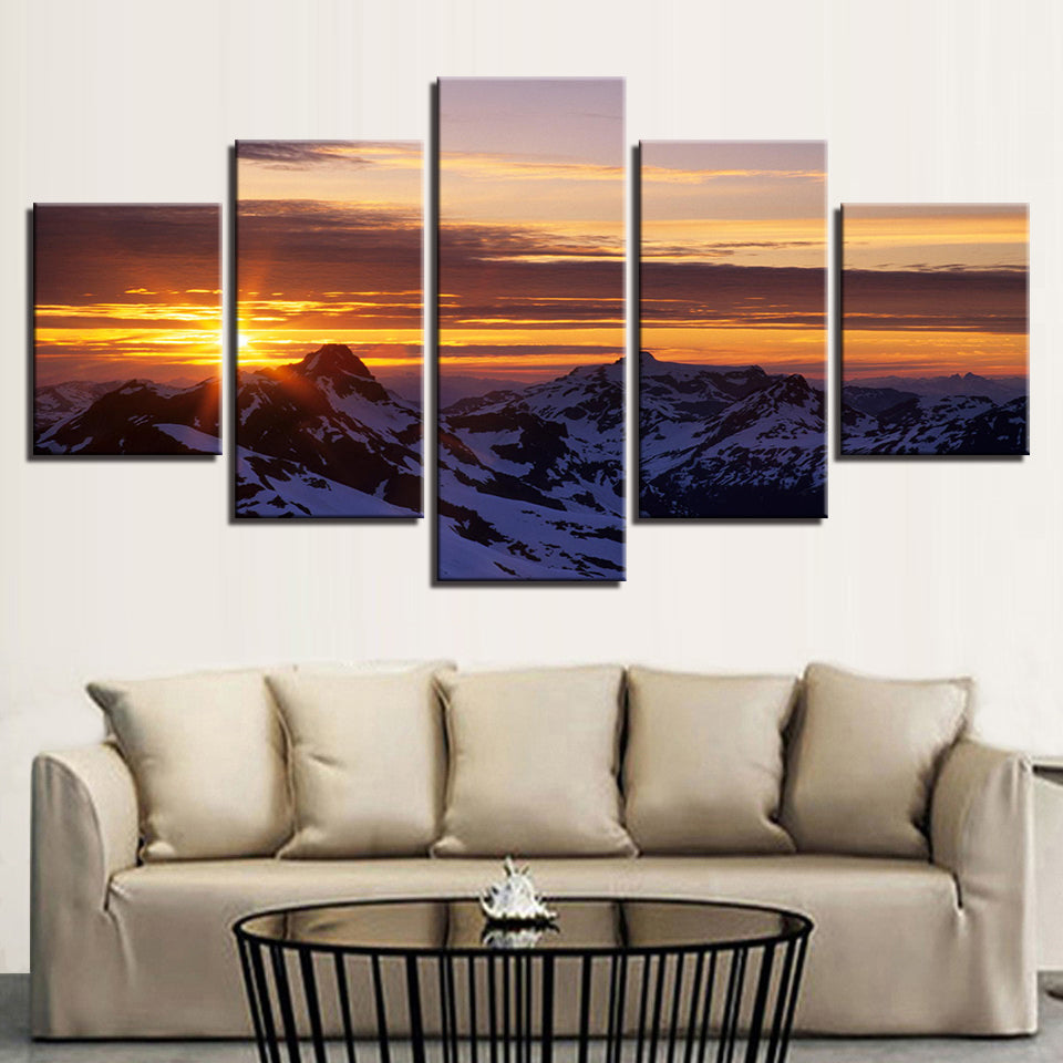 Canvas Wall Art Poster 5 Pieces Snow Mountain Sunrise Painting Prints Sunset Landscape Pictures