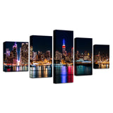 Canvas HD Prints Posters Wall Art 5 Pieces New York City Nightscape Paintings Building Pictures