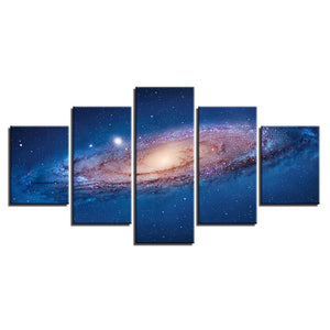 Wall Art Canvas HD Prints Poster 5 Pieces Universe Space Nebula Paintings Starry Sky Planet Pictures