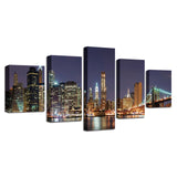 Canvas Pictures Wall Art HD Prints 5 Pieces Brooklyn Bridge City Paintings Nightscape Posters