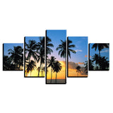 Prints Wall Art Pictures 5 Piece Sunrise Break Of Day Scenery Canvas Paintings Palm Trees Poster