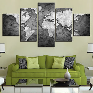 Modular HD Prints Canvas Wall Art Pictures 5 Pieces Retro World Map Paintings Vintage Posters