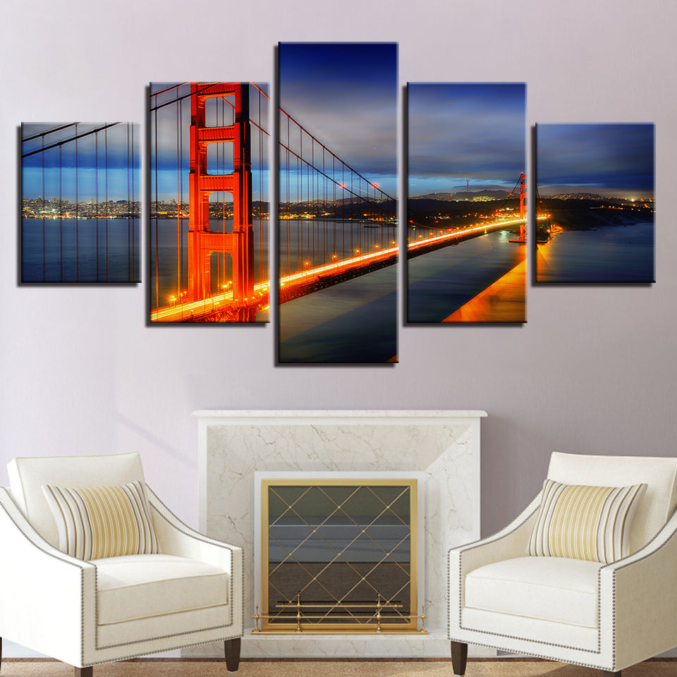 Canvas Pictures Home Decor HD Prints Poster 5 Pieces Golden Gate Bridge Night Landscape Paintings Wall Art
