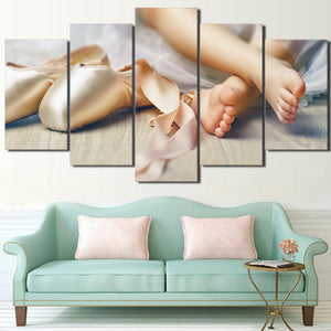 HD Prints Poster Wall Art 5 Piece Lovely Little Feet Painting Canvas Little Girls Baby Ballet Shoe Pictures