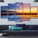 Modular Wall Art Canvas Painting 5 Pieces City On The Water Sunset Landscape Pictures Poster