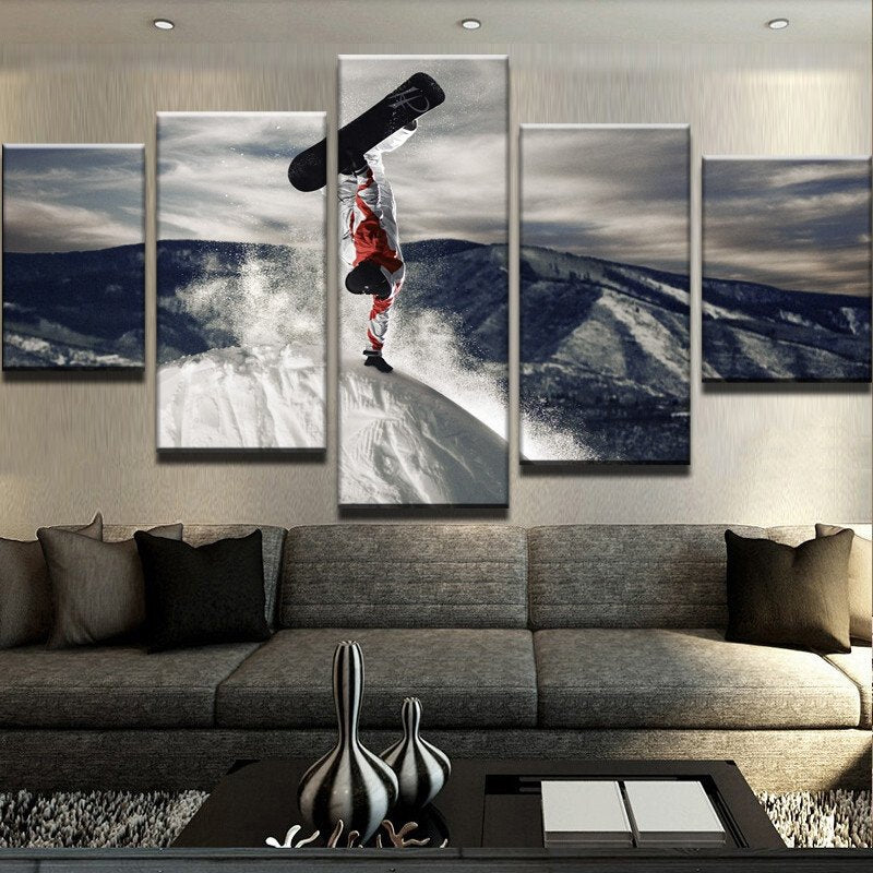 HD Prints Canvas Wall Art Pictures 5 Pieces The Man Stand Upside Down On Snow Mountain Paintings Skiing Posters