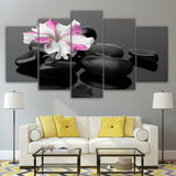 Canvas Wall Art Poster Modular HD Prints Pictures 5 Pieces Spa Stones And Flower Paintings