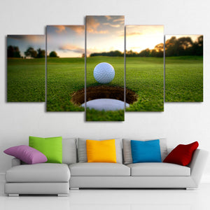 Canvas Wall Art Pictures Prints 5 Pieces Golf Ball Course Leisure Sport Landscape Paintings